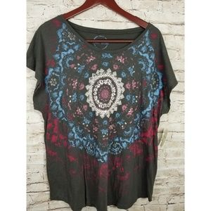NWT Lucky Brand Womens TShirt Top Graphic Sz 1X